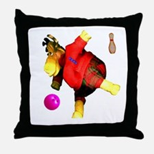 Bowling Moose  Throw Pillow