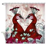 Watercolor Peacocks In Red Shower Curtain