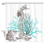 Ocean Gems Seahorse In Teal Shower Curtain
