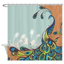 Modern Abstract Peacock Shower Curtain