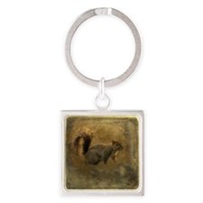 Vintage Squirrel Square Keychain