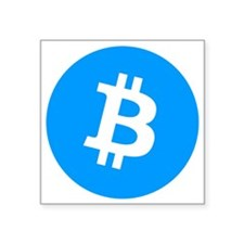 "Bitcoin (Cyan Blue) Square Sticker 3"" x 3"""