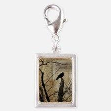 Crow Collage Silver Portrait Charm