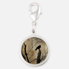 Crow Collage Silver Round Charm