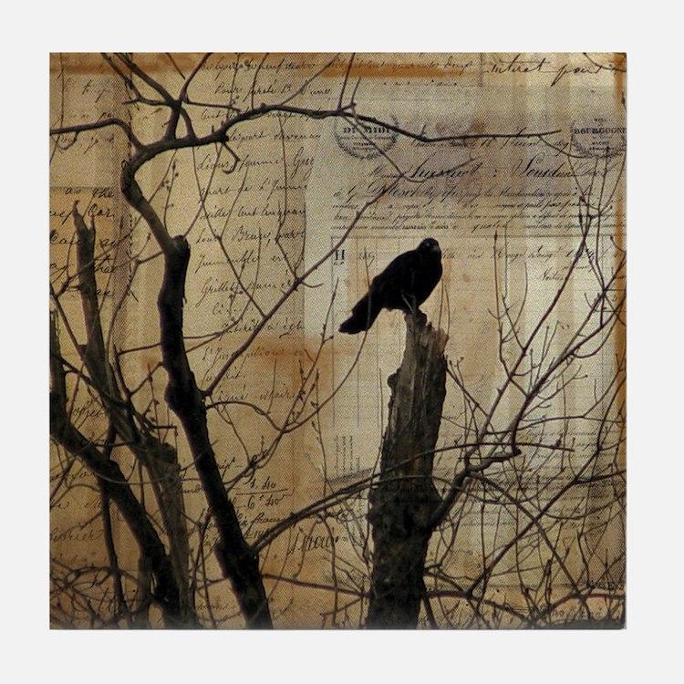 Crow Collage Tile Coaster