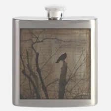 Crow Collage Flask