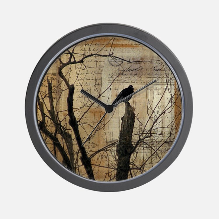 Crow Collage Wall Clock