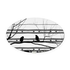 Two Love Birds Oval Car Magnet