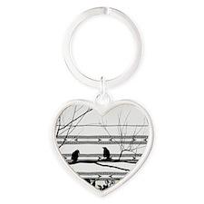 Two Love Birds Heart Keychain