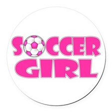 Soccer Girl Pink Round Car Magnet