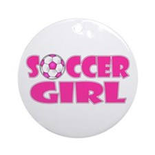 Soccer Girl Pink Ornament (Round)