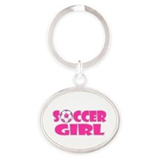 Soccer Girl Pink Oval Keychain