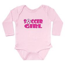 Soccer Girl Pink Long Sleeve Infant Bodysuit