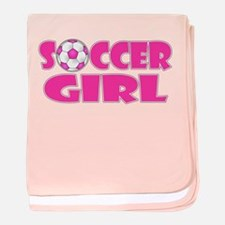 Soccer Girl Pink baby blanket
