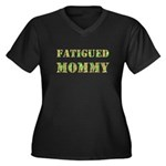 Fatigued Mommy Women's Plus Size V-Neck Dark T-Shi