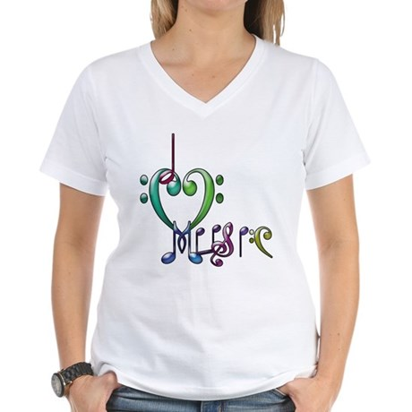 I Love Music Women's V-Neck T-Shirt
