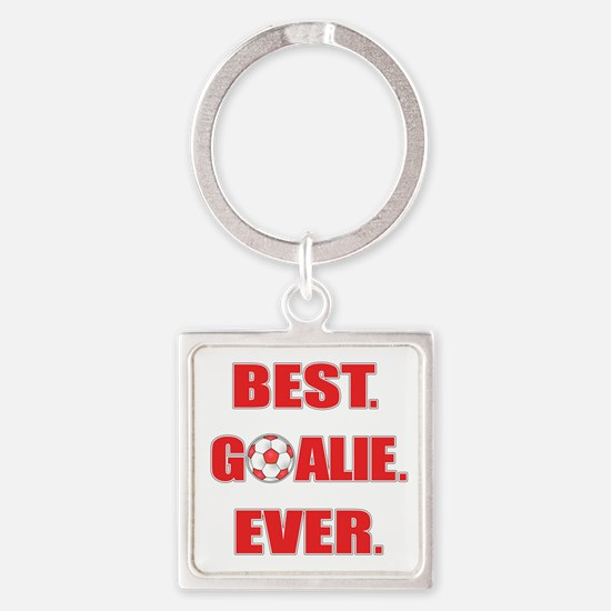 Best. Goalie. Ever. Red Square Keychain