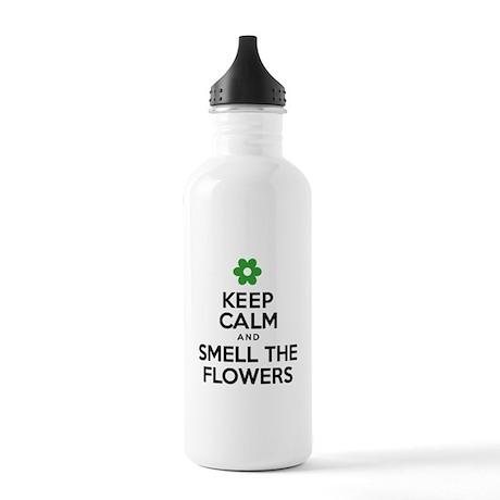Keep Calm Smell Flowers Drinkware Water Bottle
