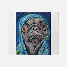 Black Pug in Hoodie Throw Blanket
