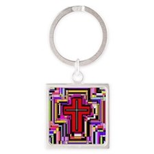 The Christian Holly Cross. Square Keychain