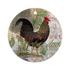 Vintage Rooster French Collage Ornament (Round)