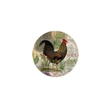 Vintage Rooster French Collage Mini Button