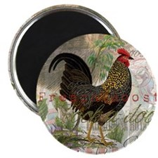 Vintage Rooster French Collage Magnets