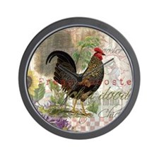 Vintage Rooster French Collage Wall Clock
