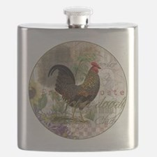 Vintage Rooster French Collage Flask