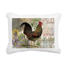 Vintage Rooster French Collage Rectangular Canvas