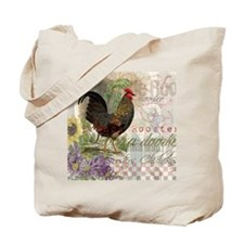 Vintage Rooster French Collage Tote Bag