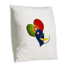 Portugal and Azores hearts Burlap Throw Pillow