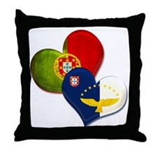 Portugal and Azores hearts Throw Pillow