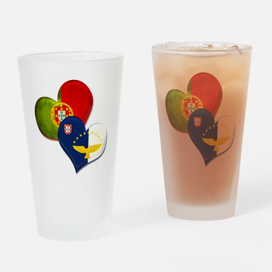 Portugal and Azores hearts Drinking Glass