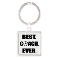 Best. Coach. Ever. Black Square Keychain