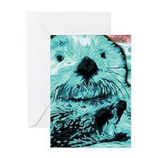 Mint teal green Sea Otter Greeting Card