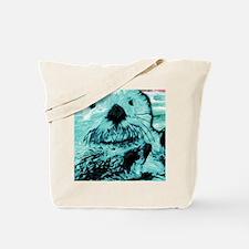 Mint teal green Sea Otter Tote Bag