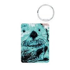 Mint teal green Sea Otter Aluminum Photo Keychain
