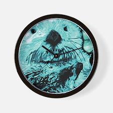 Mint teal green Sea Otter Wall Clock