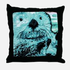 Mint teal green Sea Otter Throw Pillow