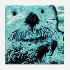 Mint teal green Sea Otter Tile Coaster