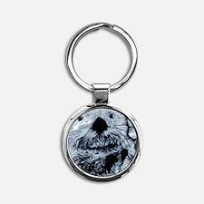 Denim Blue Sea Otter Round Keychain