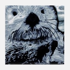 Denim Blue Sea Otter Tile Coaster