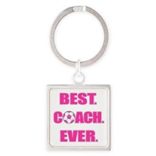 Best. Coach. Ever. Pink Square Keychain