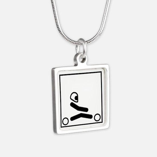 Go Kart Stick Figure Silver Square Necklace