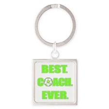 Best. Coach. Ever. Green Square Keychain