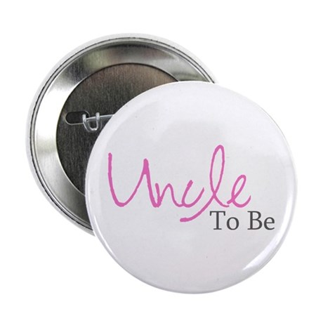 Uncle To Be (Pink Script) Button