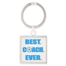 Best. Coach. Ever. Blue Square Keychain