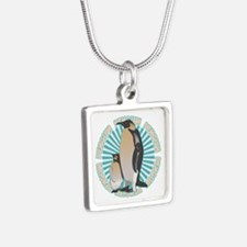 Penguin Animal Classic Silver Square Necklace