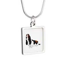 Basset Hound Silver Square Necklaces